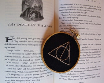 Deathly Hallows Harry Potter Inspired Embroidery Hoop Wall Art Hand Stitched Elder Wand Resurrection Stone Invisibility Cloak Geek Nerd