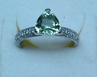 Ring with trillion cut Tzavorite