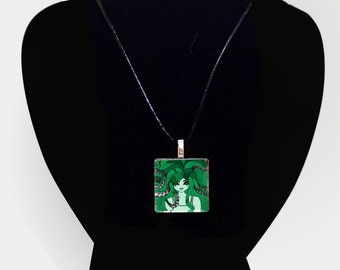 Glass tile pendant necklace - Nautilus - Unusual Contemporary Japanese Jewelry