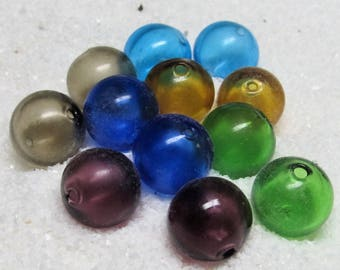 Lampwork Beads 12mm Large Hand Blown Smooth Semi-Clear Rounds in 6 colors, blue, green, purple, topaz, smoke. - 4 Pieces