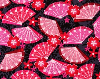Japanese Oogi Fan printed Fabric Little Harajuku by Greta Lynn for Kanvas by the Half Yard