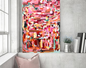 abstract painting bohemian art contemporary design 24 x 36 inches pink and orange, mint green painting, southwestern art, abstract pink