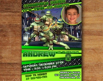Teenage Mutant Ninja Turtle Invitations , TMNT Invitation, TMNT Birthday Party, Superhero Invitation, Free Thank You Card!!!