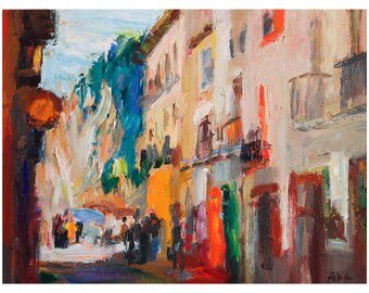 Old Street in Granada, Cityscape Original Oil Painting Paintings Impressionist Art Abstract City River Spain Spanish Bright Colourful Vivid