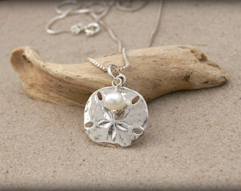 BEACH JEWELRY, Sterling Silver Sand Dollar Necklace with Pearl, Beach Girl Gift, Beach Girl Necklace, Sand Dollar Jewelry, Nautical Gift