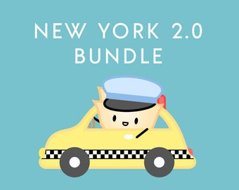 """NEW YORK 2.0 BUNDLE [New York Stickers, Taxi Pin, Red Foil Washi, 2 Sticky Notes] // """"Dimsum Around the World"""" Collection - B003"""