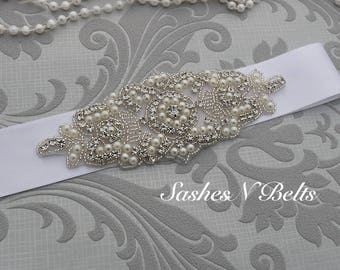 SALE  bridal belt, beaded belt, wedding belt, white bridal belt, bridesmaid belt, wedding sash, crystal rhinestone belt, dress belt
