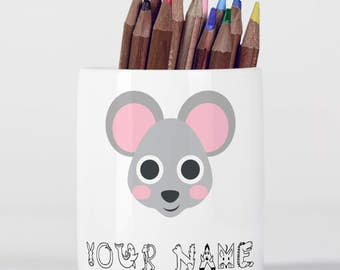 Personalised Mouse Cute Animal Children Customizable Pencil Pot, Pencil Holder, Pen Pot, Pen Holder, Gift Idea, Children Gift, PPC029