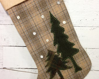 Personalized Christmas Stocking, Rustic Stocking, Cabin Christmas Stocking, Rustic Christmas Stocking, Bear Stocking, Mantle Decorations