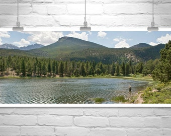 Colorado Mountain Lake Photograph, Rocky Mountains Picture, Panoramic Art, Western Landscape, Colorado Gift, Western Picture, Angler Gift