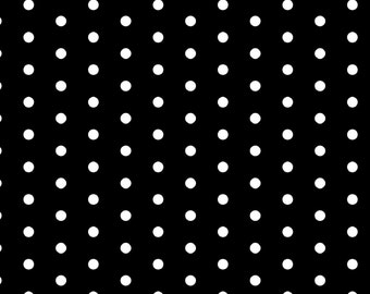 Black and White Cotton Fabric - Party Dots by Springs Creative - Dotted Fabric - By the Yard