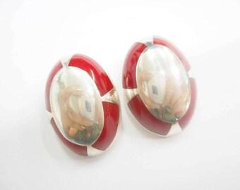 Sterling Earrings, Clip On Earrings, Enamel Earrings, Statement Earrings, Sterling Silver Large Red Enamel Clip On Earrings #2688
