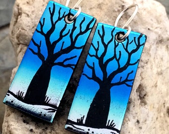 BOAB Tree Earrings Hand Etched Dichroic Glass