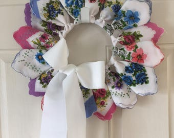 Vintage Style Handkerchief Wreath