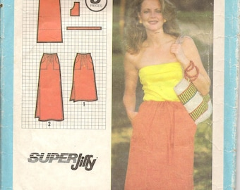 Vintage Simplicity Sewing Pattern 9031 Jiffy Drawstring Skirt 2 Lengths Size 14-16