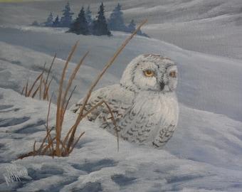 Snowy Owl original acrylic painting, owl painting, snow scene painting, painting of owl