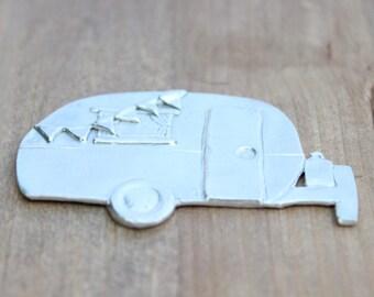 Pewter Stamping Blanks - Traveling Camper - Handmade Metal Blanks for Jewelry - Organic - Pewter - Christmas- Camper Ornament - Camper Stamp