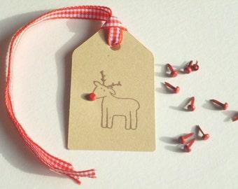 Holiday Reindeer Olive Wood Stamp