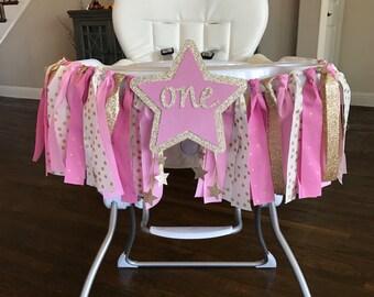 Twinkle Twinkle Little Star High Chair Birthday Banner