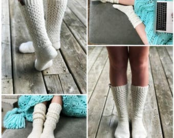 Crochet Lace Socks Kit - Lace Socks Crochet Kit - Endless Lace Crochet Socks Yarn and Pattern Kit by Sentry Box Designs