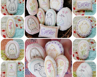 Welcome Spring Ornaments embroidery Pattern - PDF stitchery easter egg primitive ornies bowl fillers