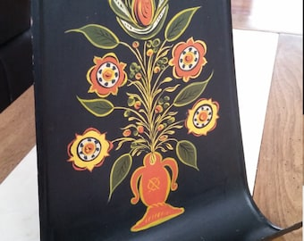 SALE Vintage Hand Painted Tole Letter or Mail Holder Black Flowers