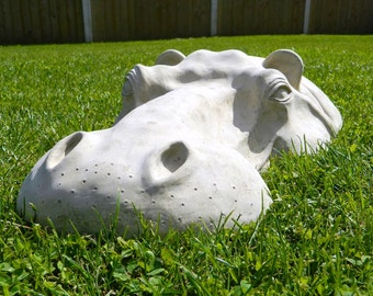 "Hippopotamus Head Outdoor Sculpture! 22"" Long Garden Ornament! Hippo Art, Birthday Gift, Christmas Gift, Outdoor Gift, Gardening Gift"