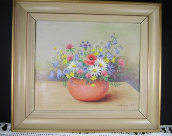 Flower Painting  Oil Painting  Vintage Framed Art Spring Home Decor Signed Original Art Still Life Painting Floral Wall Decor 1975 Gift