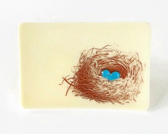 Nest on Beige Fused Glass Dish Handcrafted Plate Trinket Robin Egg Bird Boxed Gift Mother