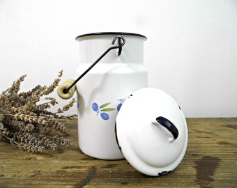 Vintage Enamel Milk Can with Lid Handle Milk Pail Container White Blue Rustic Milk Canister Metal Bucket Enamelware Farmhouse Kitchen Decor