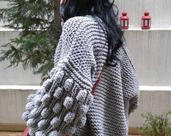 Cunky Charcoal Grey Bulky Modern Cardigan Vest Outerwear  Starknitting