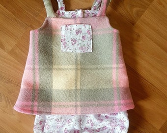 upcycled wool blanket dress and pants set size 0