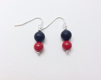 simple, modern, geometric - black and red earrings