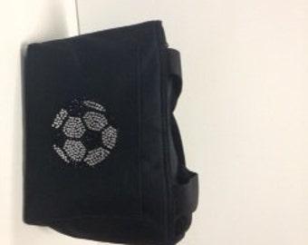 Rhinestone Soccer lunch bag