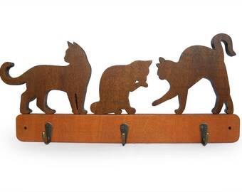 Wooden coat rack for cats lovers