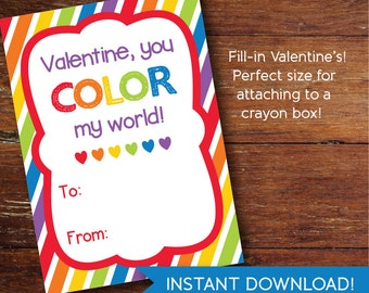 Valentine's Cards, you color my world, for crayons—INSTANT DOWNLOAD FILE