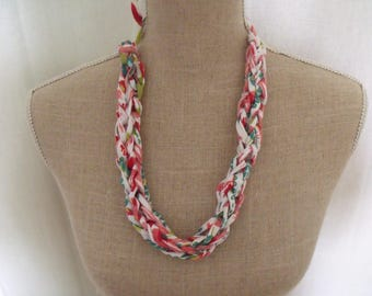 LIQUIDATION recycled green salmon white fabric necklace