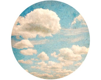 Blue Sky and Clouds Photograph, White, Light Blue, Whimsical, Home Decor, Circle, Round Image 5x5 inch Print, Whimsy - Circle