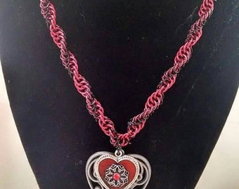 Red and Black DNA Necklace with Heart Pendant