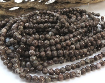 Brown Snowflake Jasper, Natural 4mm Round Beads, 16 inch Strand, 4mm Brown Beads, Beading Supplies, Item 1008pm
