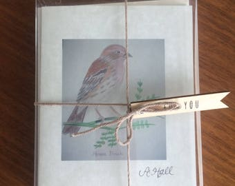 Hand-Sketched House Finch Folded Notecard Set/Blessing