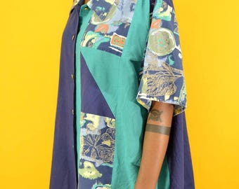 Vintage 80s / 90s Teal Patterned Button Down Shirt