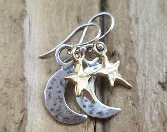 Moon and Star Earrings, Sterling Silver Crescent Moon Earrings, Silver and Gold Moon and Star Earrings, Gold Star Earrings, Pierced Earrings