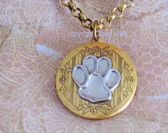 satin locket silver print prints chain lockets animal paw on polished sterling oval