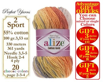 Alize Cotton Gold Batik, Knitting Yarn, Soft Yarn, crochet yarn, baby yarn, multicolor yarn, hypoallergenic yarn, cotton yarn, turkish yarn
