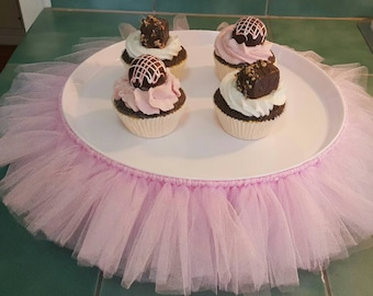 CAKE STAND TUTU Pink Cupcake Tulle Skirt Decorations Baby Shower Birthday  Party Princess Ballerina Wedding Quinceanera Centerpiece Dessert