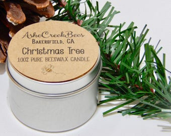 Christmas Tree Scented Pure Beeswax Candle