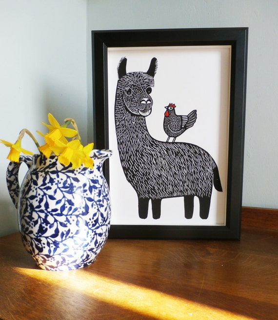 Llama and Chicken linocut print - Fathers day gift - animal linocut print - teacher gift - signed open edition - free postage - Kat Lendacka