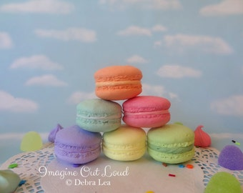 FAUX MACARON SIX Flavors Fake Macaron Macaroon Cookies Food Prop Photo Pastel Kitchen Decor Display
