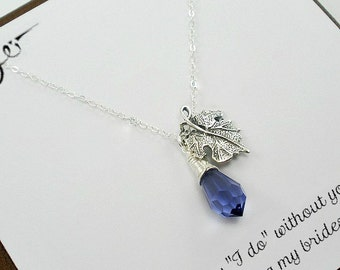 Bridesmaid Necklace Set, Bridesmaid Jewelry, Bridesmaid Gift Set of 3 to 8, Maid of Honor, Leaf Necklace, Custom Color, Starring You Jewelry